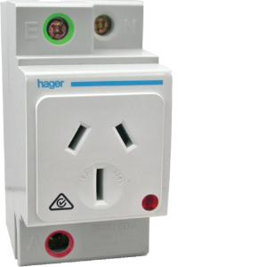 Hager DIN SOCKET OUTLET 15A DBL POLE AUTO SW.