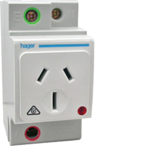 Hager DIN SOCKET OUTLET 10A DBL POLE AUTO SW.