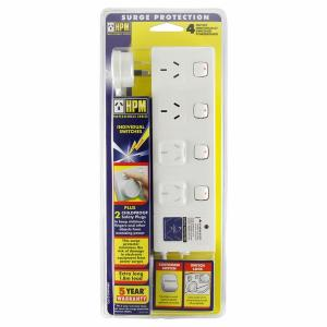 HPM Industries POWERBOARD 4 OUTLET SWITCHED& SURGE PROT