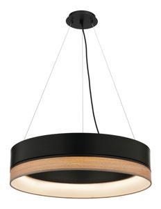 Mercator Clipper FITZGERALD LED PENDANT 24W BLACK W/TIMB