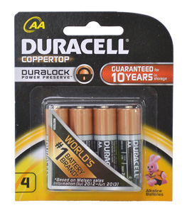 Duracell BATTERY 1.5V AA SIZE FOUR PACK