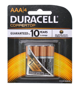 Duracell BATTERY 1.5V AAA SIZE FOUR PACK