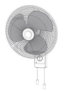 "Omega WALL FAN 16"" 3 SPEED WITH PULL CORD"