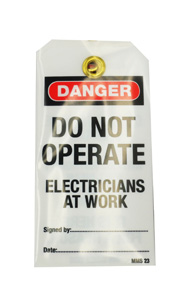 """OmegaLOCKOUT TAG """"DO NOT OP.ELEC.AT WORK""""&PEN"""