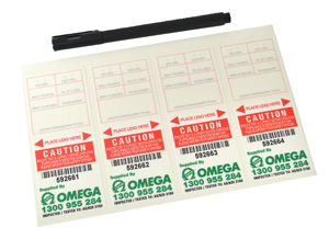 Omega TEST TAGS SELF LAMINATED RED DEC-FEB