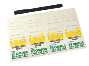 Omega TEST TAGS SELF LAMINATED YELLOW SEP-NOV
