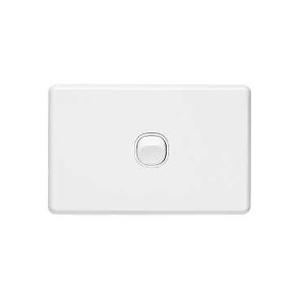Clipsal SWITCH HORIZ.SINGLE 10A WHITE COVER&GRID
