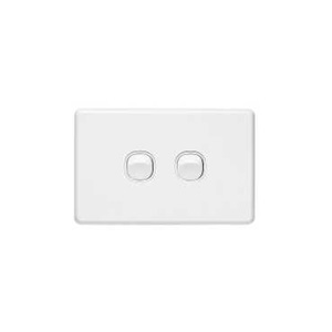 Clipsal SWITCH HORIZ.TWIN 10A WHITE COVER & GRID