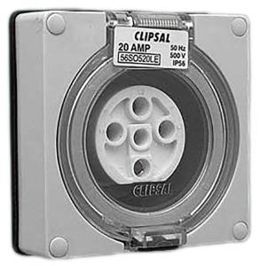 Clipsal INDUST SOCKET 500V 20A 5R PINS LESS ENCL