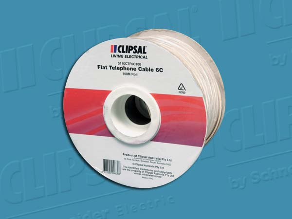 ClipsalCABLE TELEPHONE FLAT STRANDED 6C - 100M