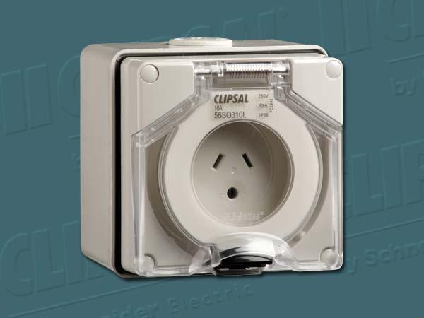 ClipsalINDUST SOCKET 250V 10A 2F & 1R PINS
