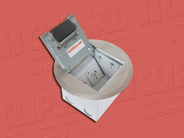 ModulineFLOOR BOX ROUND 2 POWER 2 DATA &S/ST LID