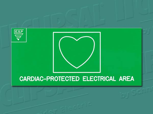 Medilec Products AREA CLASSIF.SIGN'CARDIAC PROTECTED'LAMI